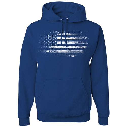Standard Issue Constitution Distressed American Flag Blue Pullover Grunt Life Hoodie