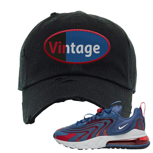Air Max 270 React ENG Mystic Navy Distressed Dad Hat | Vintage Oval, Black