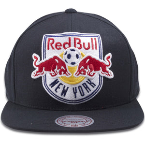 New York Red Bulls Mitchell and Ness Black XL Logo Snapback Hat