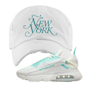Air Max 2090 Pristine Green Distressed Dad Hat | White, New York