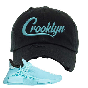 Pharell x NMD Hu Aqua Distressed Dad Hat | Crooklyn, Black