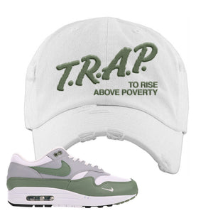 Air Max 1 Spiral Sage Distressed Dad Hat | Trap To Rise Above Poverty, White