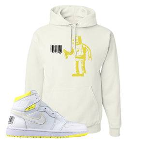 Air Jordan 1 First Class Flight Barcode Robot White Sneaker Matching Pullover Hoodie