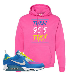 Undefeated x Air Max 90 Pacific Blue Sneaker Wow Pink Pullover Hoodie | Hoodie to match Undefeated x Nike Air Max 90 Pacific Blue Shoes | Them 90's Tho