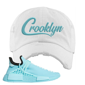 Pharell x NMD Hu Aqua Distressed Dad Hat | Crooklyn, White