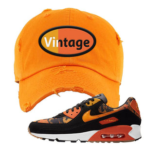 Air Max 90 Orange Camo Distressed Dad Hat | Vintage Oval, Orange