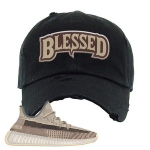 Yeezy 350 v2 Zyon Distressed Dad Hat | Black, Blessed Arch