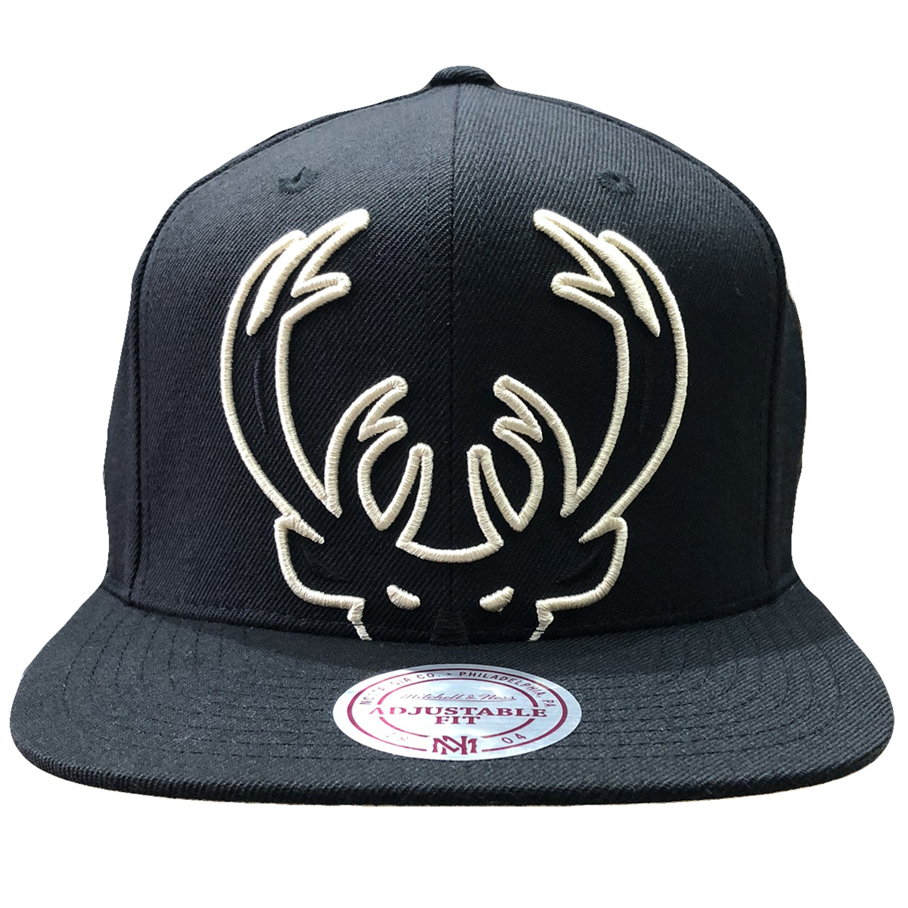 size 40 9796e a6a23 Embroidered on the front of the Milwaukee Bucks snapback hat is the Bucks  outlined logo in
