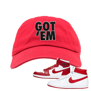 Jordan 1 New Beginnings Pack Sneaker Red Dad Hat | Hat to match Nike Air Jordan 1 New Beginnings Pack Shoes | Got Em
