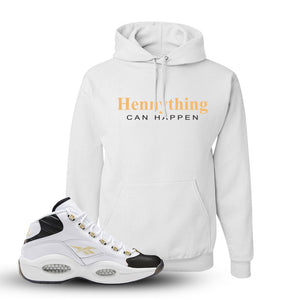 Reebok Question Mid Black Toe Hoodie | White, Hennything Can Happen