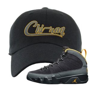 Air Jordan 9 Charcoal University Gold Dad Hat | Chiraq, Black