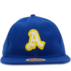 The front of the Philadelphia Athletics 1950 Heritage Series 9Fifty snapback hat features a two color applique Athletics logo in yellow and white