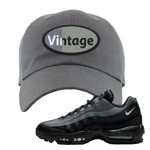 Air Max 95 Black Smoke Grey Dad Hat | Vintage Oval, Dark Gray