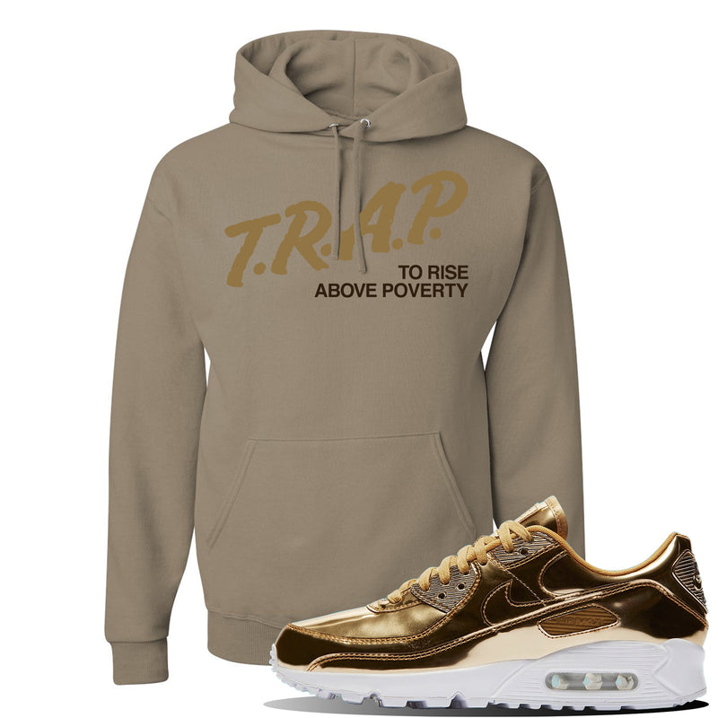 Air Max 90 WMNS 'Medal Pack' Gold Sneaker Khaki Pullover Hoodie | Hoodie to match Nike Air Max 90 WMNS 'Medal Pack' Gold Shoes | Trap to Rise Above