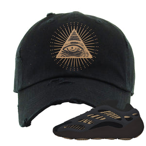 Yeezy 700 v3 Eremial Distressed Dad Hat | All Seeing Eye, Black