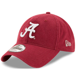 embroidered on the front of the university of alabama dad hat is the alabama logo embroidered in white