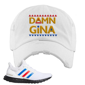 Ultra Boost White Red Blue Distressed Dad Hat | White, Damn Gina
