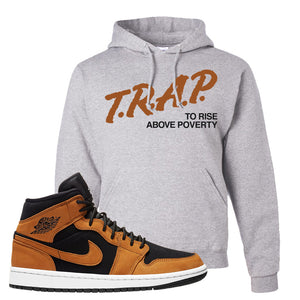 Air Jordan 1 Mid Wheat Hoodie | Trap To Rise Above Poverty, Ash