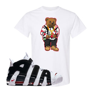 Air More Uptempo White Black Red T Shirt | White, Sweater Bear