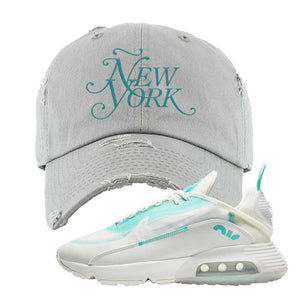 Air Max 2090 Pristine Green Distressed Dad Hat | Light Gray, New York