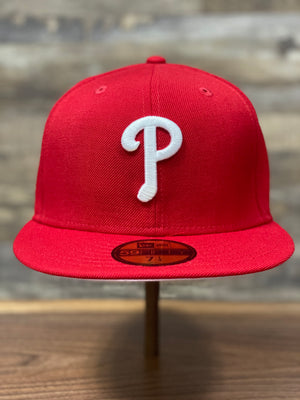 Pink Bottom Fitted Hat | 59Fifty Pink Under Brim Philles Fitted Cap |  Philadelphia Phillies Fitted front view