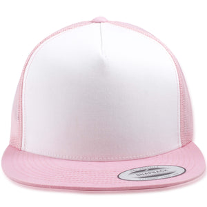 White on Pink Mesh-Back Adjustable Snapback Trucker Hat