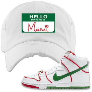 Paul Rodriguez's Nike SB Dunk High Sneaker White Distressed Dad Hat | Hat to match Paul Rodriguez's Nike SB Dunk High Shoes | Hello My Name Is Mami