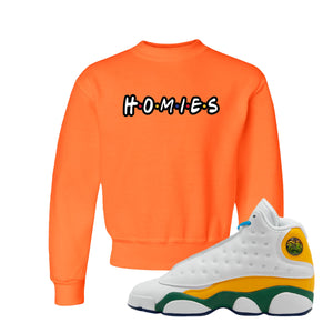 Homies Safety Orange Kid's Crewneck Sweatshirt to match Air Jordan 13 GS Playground Kids Sneakers