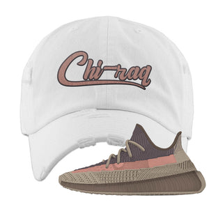 Yeezy 350 v2 Ash Stone Distressed Dad Hat | Chiraq, White