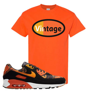 Air Max 90 Orange Camo T Shirt | Vintage Oval, Orange