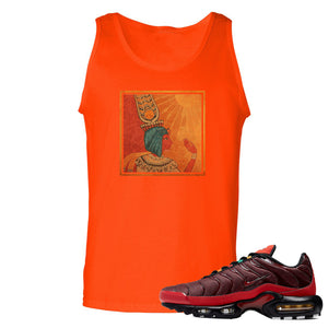 printed on the front of the air max plus sunburst sneaker matching orange tank top is the vintage egyptian box logo