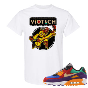 Printed on the front of the Air Max 90 Viotech white sneaker matching t-shirt is the Viotech Rattlesnake Jones logo