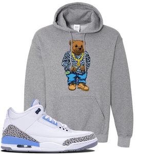 Jordan 3 UNC Sneaker Graphite Heather Pullover Hoodie | Hoodie to match Nike Air Jordan 3 UNC Shoes | Sweater Bear