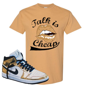 Air Jordan 1 Mid SE Metallic Gold T Shirt | Talk Is Cheap, Old Gold