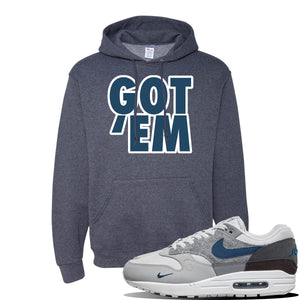 Air Max 1 'London City Pack' Sneaker Vintage Heather Navy Pullover Hoodie | Hoodie to match Nike Air Max 1 'London City Pack' Shoes | Got Em