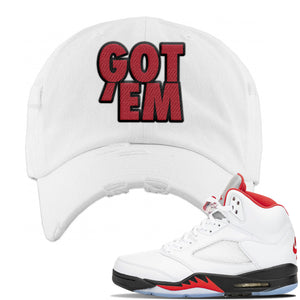 Air Jordan 5 OG Fire Red Distressed Dad Hat | White, Got Em