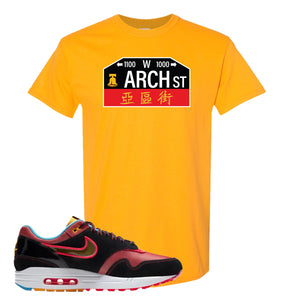Air Max 1 NYC Chinatown Arch Street Philadelphia Gold T-Shirt To Match Sneakers