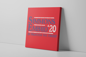 Simmons and Embiid 2020 Canvas | Ben Simmons and Joel Embiid 2020 Red Wall Canvas the front of this canvas has the simmons embiid 2020 logo