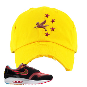 Air Max 1 NYC Chinatown Pegasus With Chinese Stars Gold Distressed Dad Hat To Match Sneakers