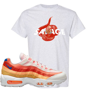 Air Max 95 Orange Snakeskin T Shirt | Savage Snake, Ash