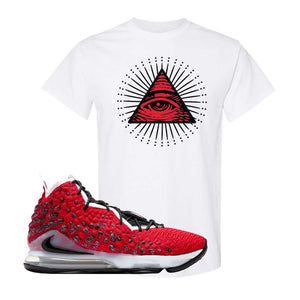 Lebron 17 Uptempo T Shirt | White, All Seeing Eye