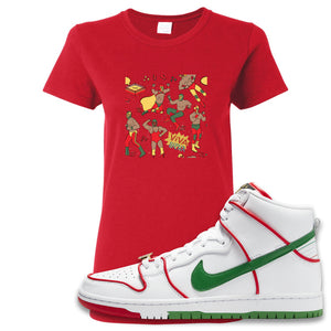 Paul Rodriguez's Nike SB Dunk High Sneaker Red Women's T Shirt | Women's Tees to match Paul Rodriguez's Nike SB Dunk High Shoes | Luchadors