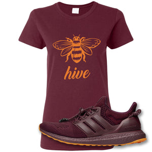 Bee Hive Maroon Women's T-Shirt to match Ivy Park X Adidas Ultra Boost Sneaker