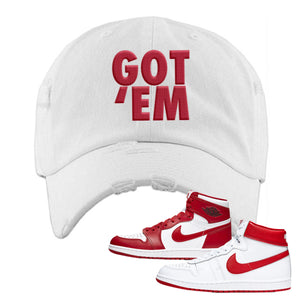 Jordan 1 New Beginnings Pack Sneaker Red Distressed Dad Hat | Hat to match Nike Air Jordan 1 New Beginnings Pack Shoes | Got Em