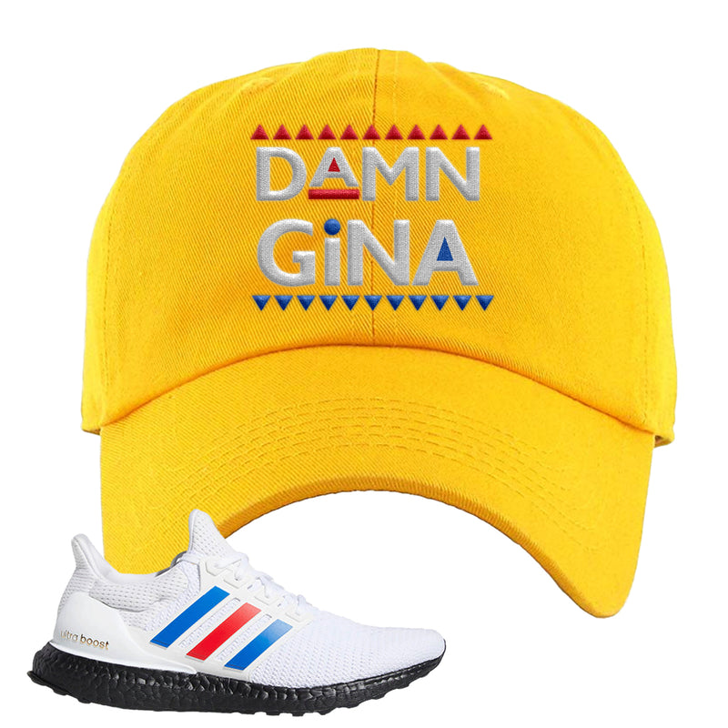 Ultra Boost White Red Blue Dad Hat | Gold, Damn Gina