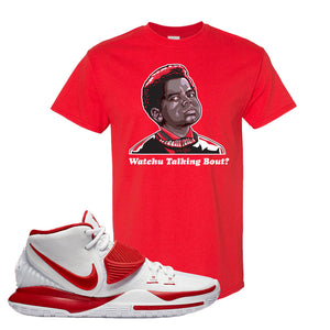 Kyrie 6 White University Red T Shirt | Watchu Talking Bout, Red