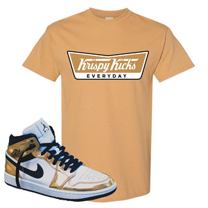 Air Jordan 1 Mid SE Metallic Gold T Shirt | Krispy Kicks, Old Gold