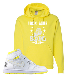 Jordan 1 First Class Flight Iron Mike Boxing Club Sneaker Matching Neon Yellow Pullover Hoodie