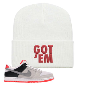 Nike SB Dunk Low Infrared Orange Label Got Em White Beanie To Match Sneakers