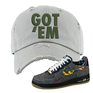 Air Force 1 Low Plaid And Camo Remix Pack Distressed Dad Hat | Got Em, Light Gray
